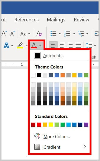 Font Color menu in Word 365