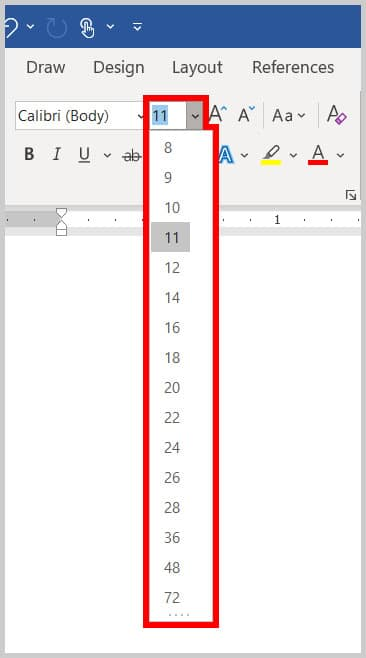 Font Size menu in the Home tab in Word 365