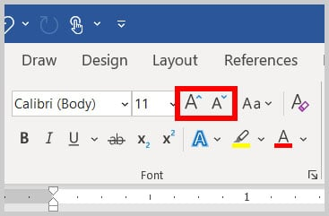 Increase Font Size and Decrease Font Size buttons in Word 365