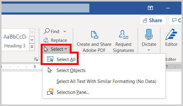 Select All option in Word 365