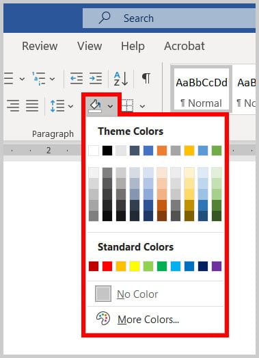 Shading button in Word 365
