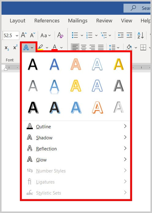 Text Effects and Typography button in Word 365