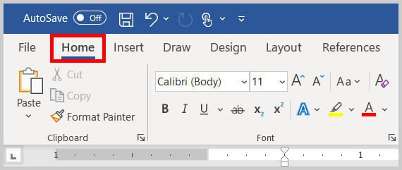 Home tab in Word 365
