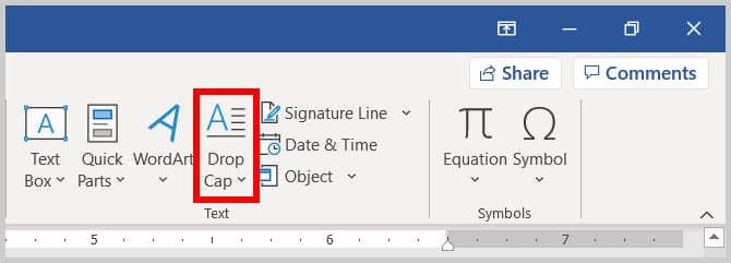 Drop Cap button in Word 365