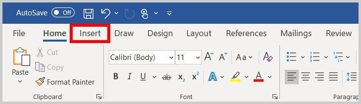 Insert tab in Word 365