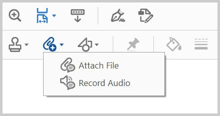 Add Attachment menu in Adobe Acrobat