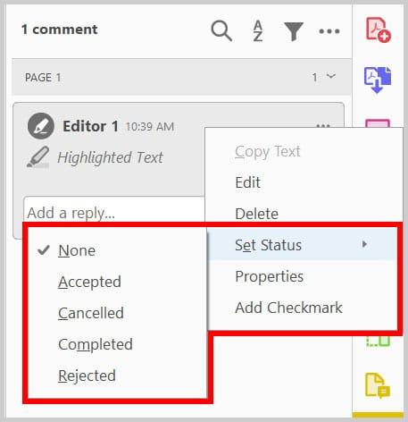 Comment pane Set Status menu in Adobe Acrobat