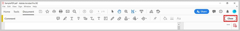 Close button in the Comment toolbar in Adobe Acrobat