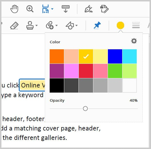 Color menu in the Comment toolbar in Adobe Acrobat