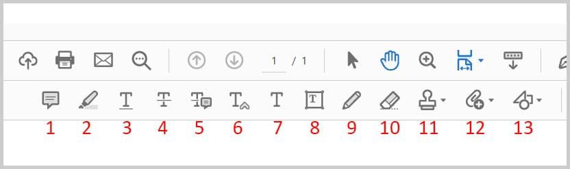 Comment toolbar in Adobe Acrobat