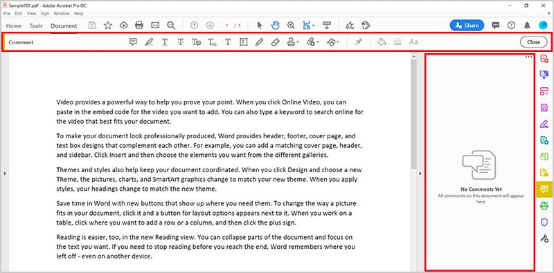 Comment toolbar and Comment Pane in Adobe Acrobat
