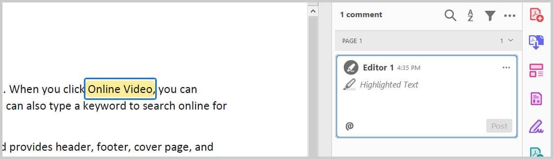 Highlight example in Adobe Acrobat