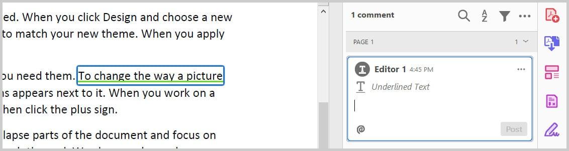 Underline Text example in Adobe Acrobat
