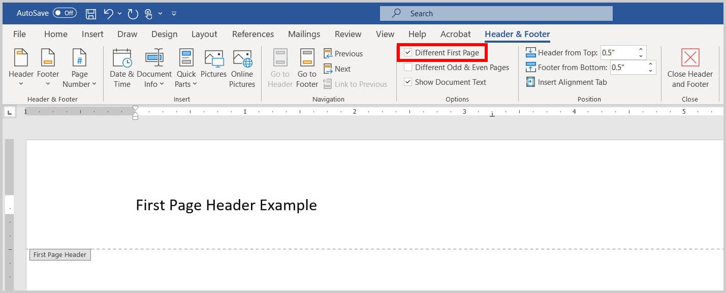 Different First Page option and header space in Word 365