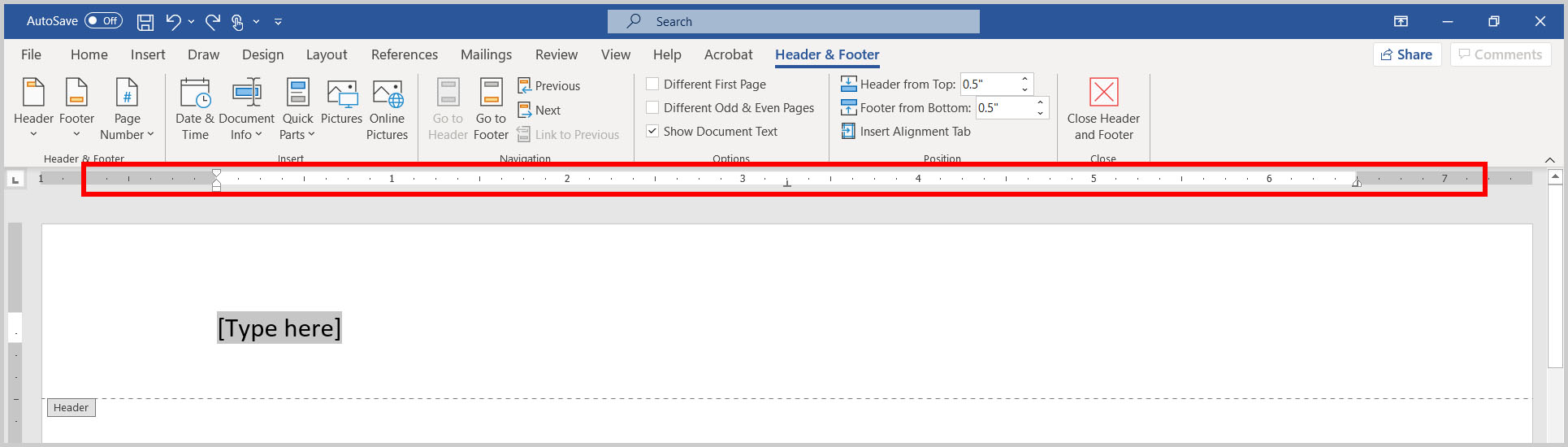 Ruler with tabs in Word 365