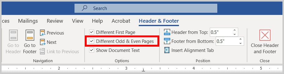 Different Odd and Even Pages header and footer option in Word 365