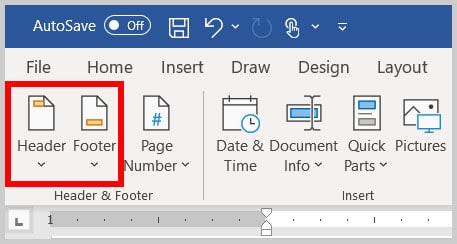 Header and Footer buttons in the Header and Footer tab in Word 365