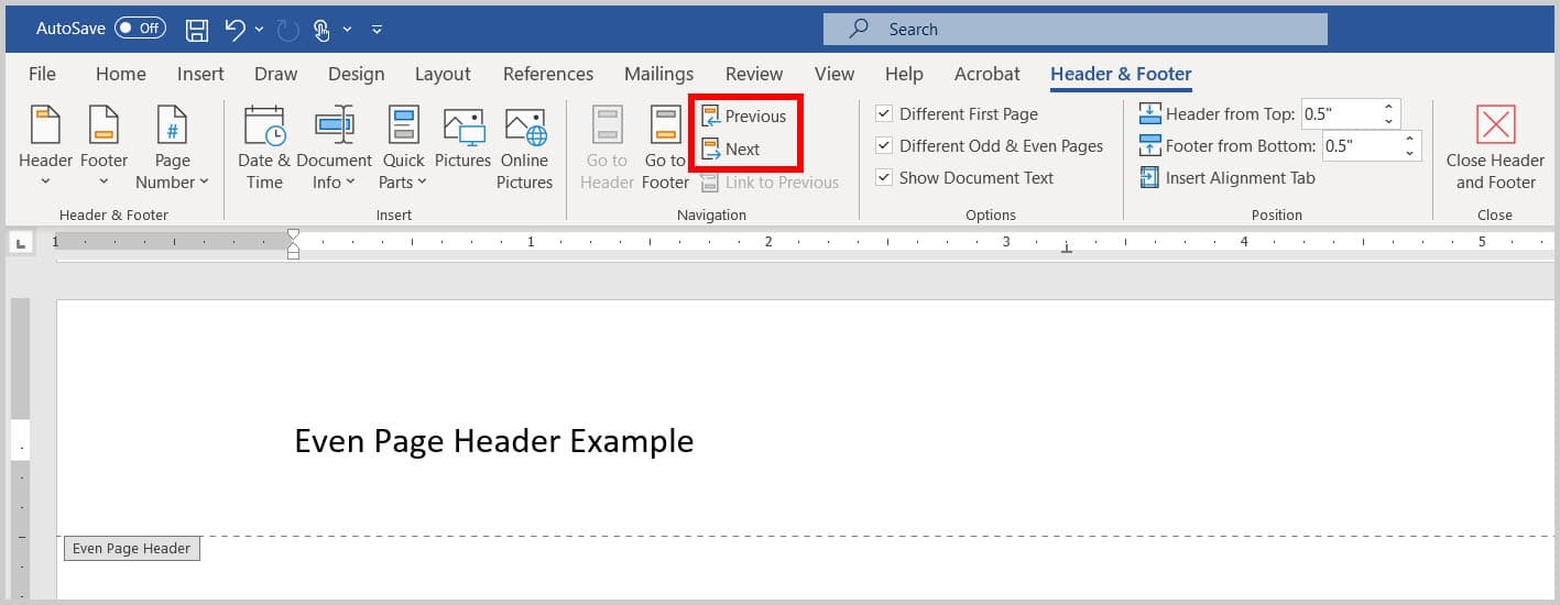 Previous and Next header and footer buttons in Word 365