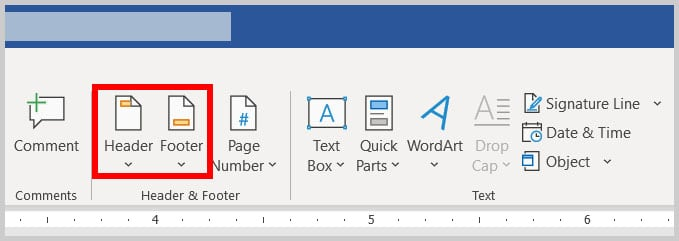 Header and Footer buttons in the Insert tab in Word 365