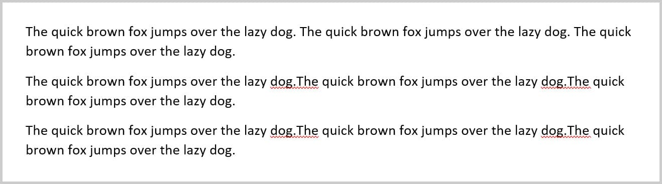Quick Brown Fox placeholder text in Word 365