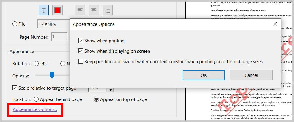 Appearance Options in the Add Watermark dialog box in Adobe Acrobat