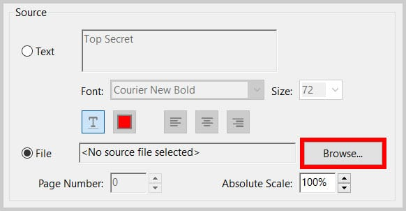 Browse button in the Add Watermark dialog box in Adobe Acrobat