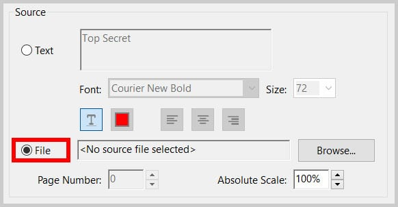 File radio button in the Add Watermark dialog box in Adobe Acrobat