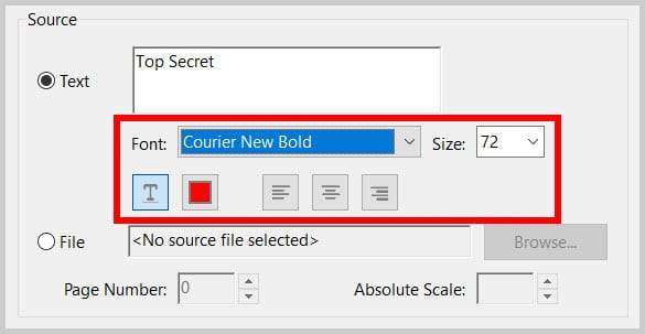 Watermark font options in Adobe Acrobat