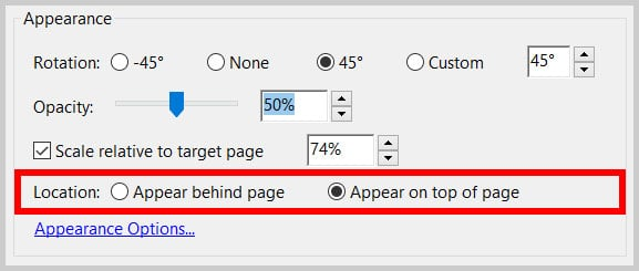 Location options in the Add Watermark dialog box in Adobe Acrobat