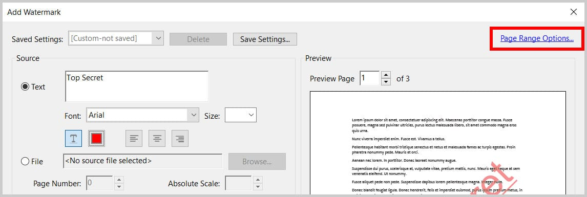 Page Range Options link in the Add Watermark dialog box in Adobe Acrobat