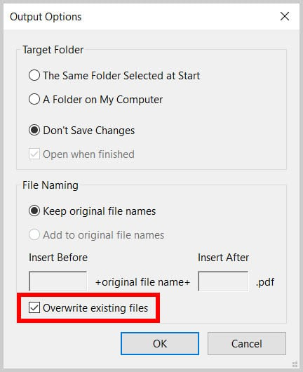 Overwrite Existing Files option in the Output Options dialog box in Adobe Acrobat