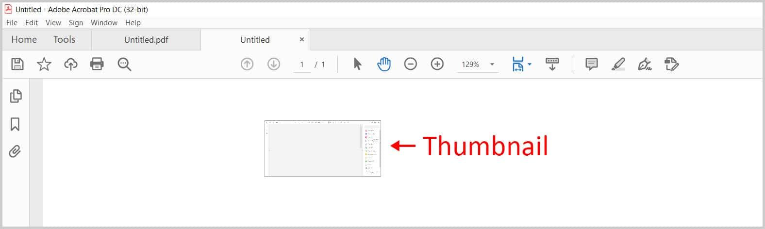 Tab thumbnail in Adobe Acrobat