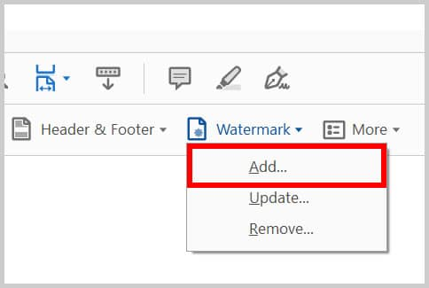 Add Watermark option in Adobe Acrobat