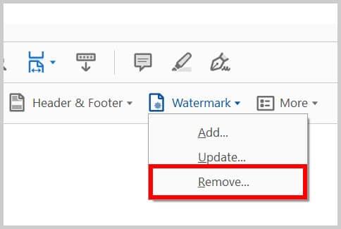 Remove watermark option in Adobe Acrobat