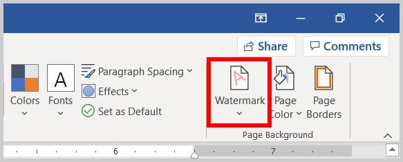 Watermark button in Word 365