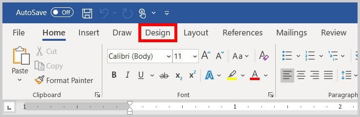 Design tab in Word 365