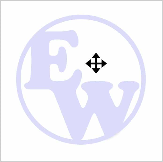 Double-arrow cursor over image watermark in Word 365