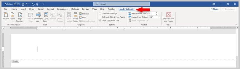 Header & Footer tab in Word 365