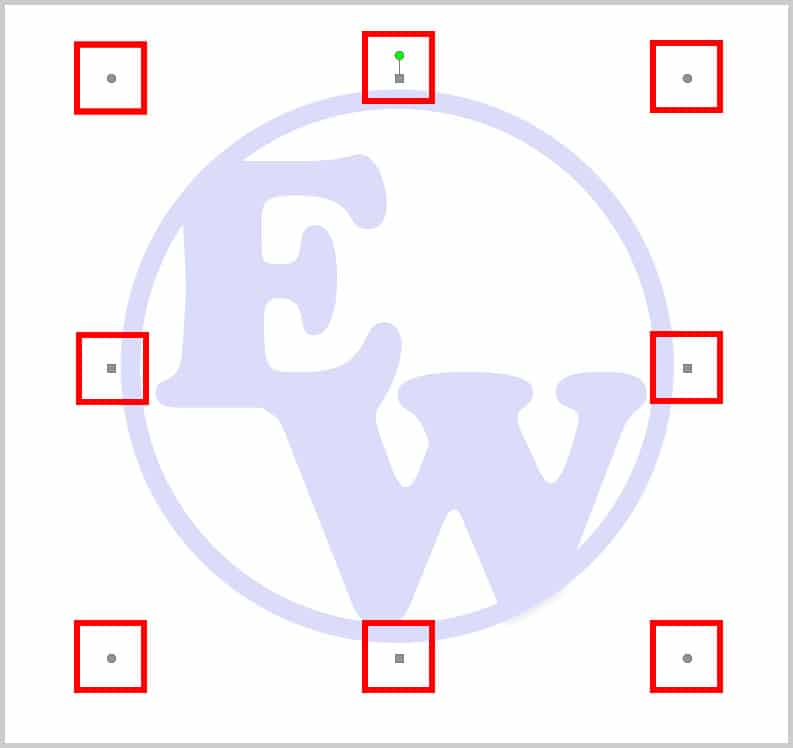 Watermark adjustment handles in Word 365