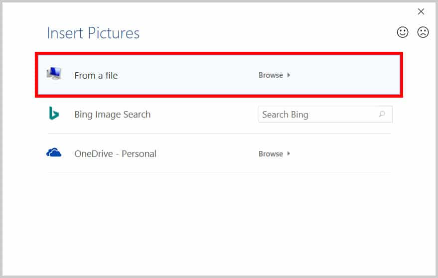Insert Picture dialog box in Word 365