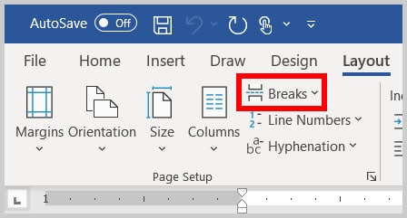 Breaks button in Word 365