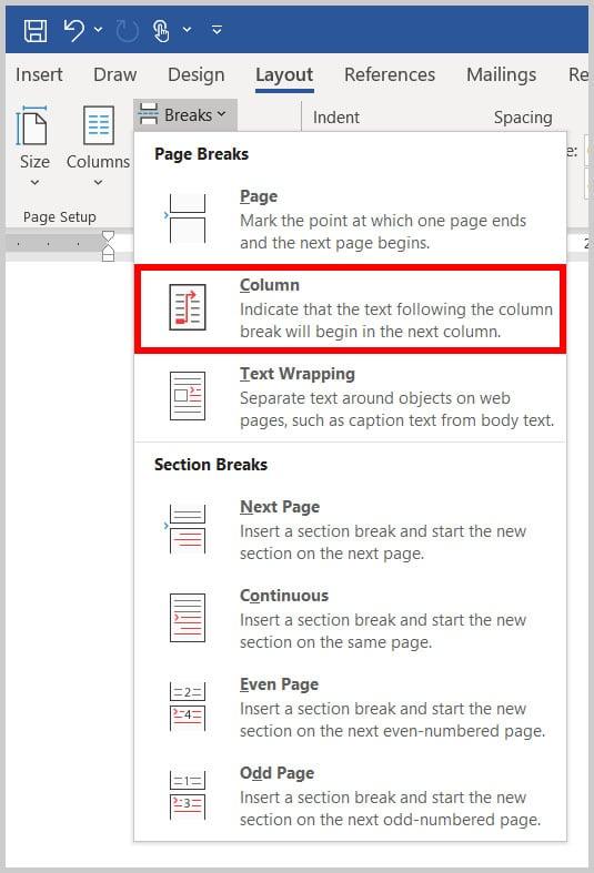 Column Break option in Word 365