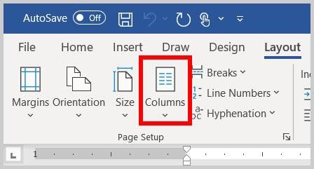 Columns button in Word 365
