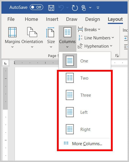 Columns menu in Word 365