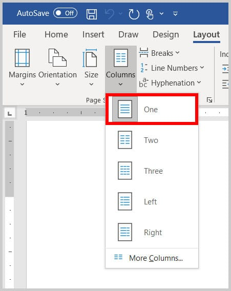 One column option in Word 365