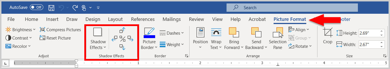 Picture Format tab in Word 365