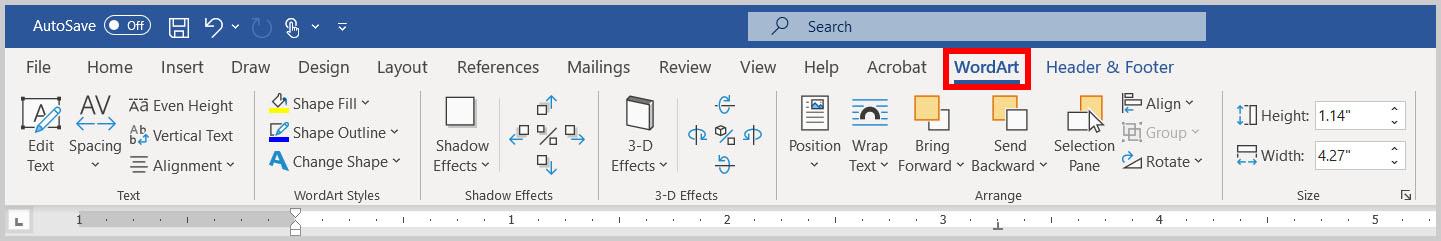 WordArt tab in Word 365