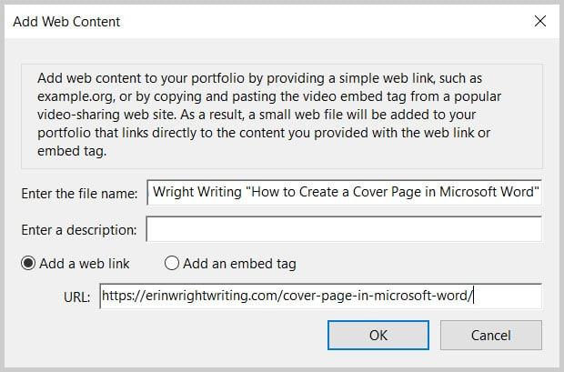 Add Web Content Dialog Box in Adobe Acrobat