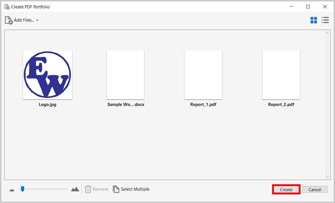 Adobe Acrobat Create PDF Portfolio Create Button