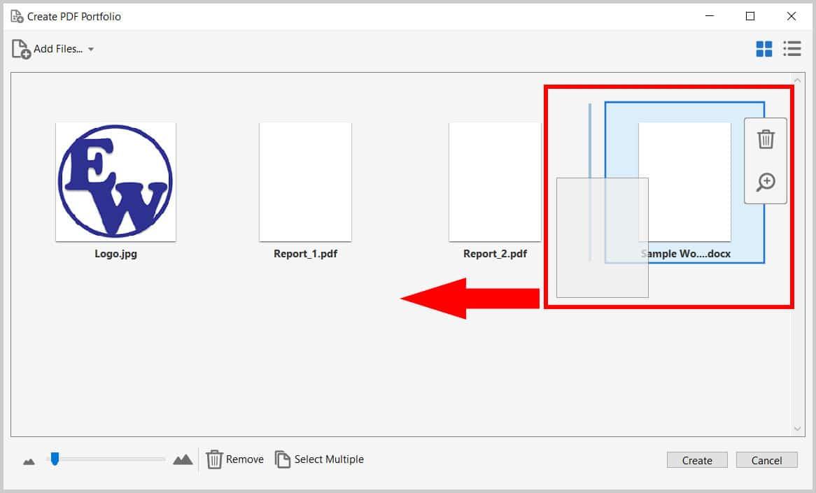Example of moving a file inside the Create PDF Portfolio dialog box in Adobe Acrobat